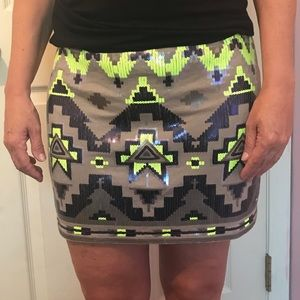 Express sequined Aztec pattern mini skirt